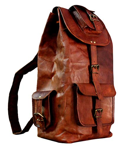16' Brown Leather Backpack Vintage Rucksack Laptop Bag Water Resistant Casual Daypack College Bookbag Comfortable Lightweight Travel Hiking Picnic (16 inch)