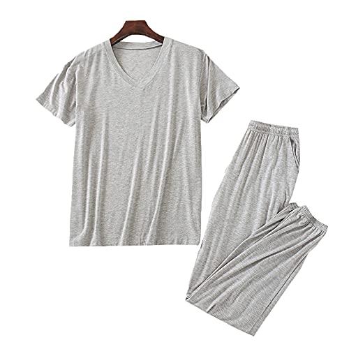 WAEKQIANG Conjunto De Pijamas Pijamas para Hombres De 2 Piezas Pijamas para Hombres Pijamas De Manga Corta Modal De Primavera Y Verano para Hombres Servicio A Domicilio Negro