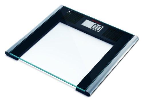 Soehnle Solar Sense, digitale Personenwaage, umweltfreundliche Solar-Waage ohne Batterien, zuverlässiger Betrieb auch bei geringem Lichteinfall, Körperwaage mit gut lesbarer LCD-Anzeige