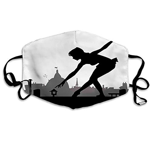 Mouth Mask kan Replace Activated Carbon Filter M Nose Clip dust maskAqua,Silhouette of Little Ballerina Girl Dancing on The Roof Top,Face Mouth Mask voor, mannen en vrouwen