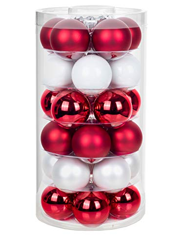 Inge Glas Weihnachtskugeln | Schöne Christbaumkugeln aus Glas | 30 Kugen in Dose | Christbaumschmuck Weihnachtsbaumschmuck Weihnachtsbaumkugeln (Frozen Strawberrys | rot weiß)