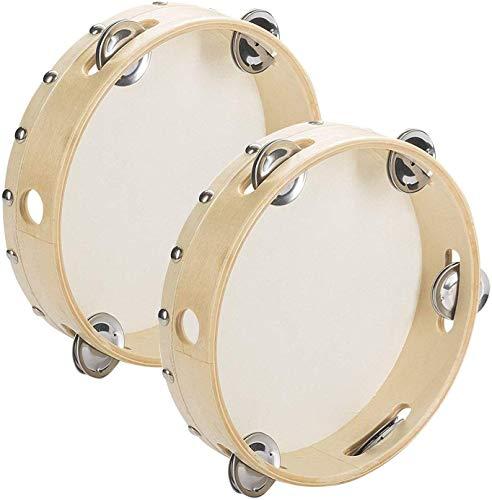 Tebery 2 panderetas Musicales 20 cm con Tambor Redondo, Regalo de percusión para Fiestas KTV