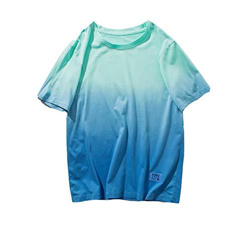 MIRANDA New Lovers 'Suit Cuello Redondo Colgante Gradiente teñido Camiseta de Manga Corta para Hombre