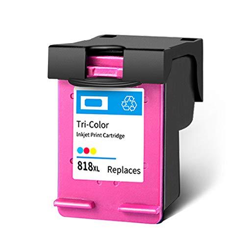SXCD Cartucho de tinta 818XL, repuesto para impresoras HP Deskjet D2568, F2418, F2488, F4288, D2668, ENVY 100, PhotoSmart C4600, color negro y tricolor