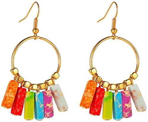 OUHUI Pendientes de Aleación de Piedras de Colores de Siete Chakra Pendientes de Lazo de Oído, Elegante Gancho Personalizado Conjuntamente Pendientes, Regalo de Vacaciones de Moda M