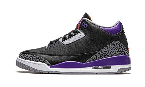 Nike Herren Air Jordan 3 Retro *Rare* – CT8532 050 – Black Court Purple Cement Grey, Schwarz - Schwarz - Größe: 44 EU