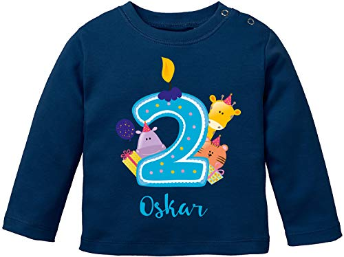 EZYshirt® Geburtstagsgeschenk Baby | 2. Geburtstag niedliche Tiere feiern die zweite Geburtstags Party Body | T-Shirt | Pullover aus Reiner 100% Bio Baumwolle