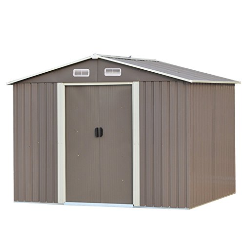 Waterproof Storage Sheds 8x8 ft Outdoor, for Backyard Garden, Brown, Steel