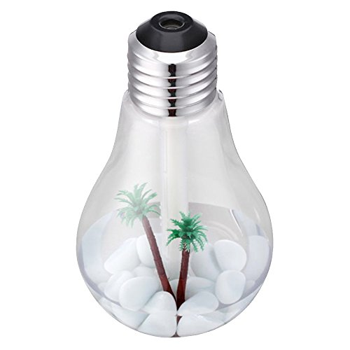 Gosear USB ultrasonidos humidificador de Escritorio de Oficina en casa Mini Colorido LED Noche luz 400 ml Bombilla Forma Botella purificador de Aire atomizador (Silver-Head Transparent)
