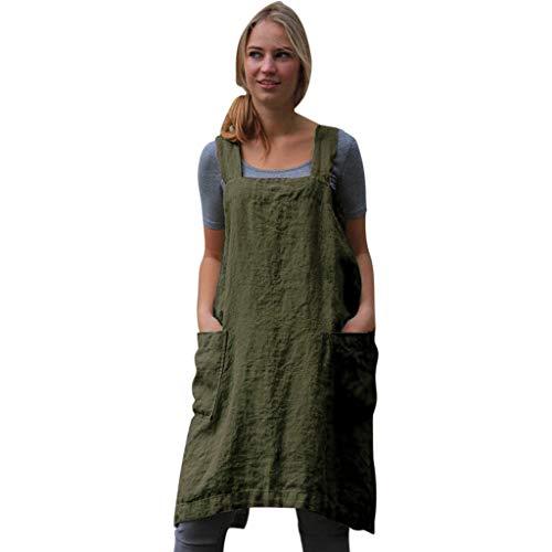 Kaister Damen Baumwolle Leinen Pinafore Square Cross Schürze Gartenarbeit Pinafore Kleid