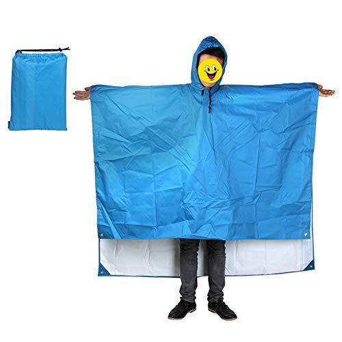TIZJ Capa De Lluvia Impermeable De Camuflaje Capa De Lluvia con Capuchas Poncho De Lluvia para Actividades Al Aire Libre Hombres, Mujeres Chaqueta para Camping Ciclismo Senderismo (Color : Blue)
