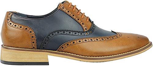 Herren Brogue-Schuhe, klassisch, Leder gefüttert, zweifarbig, für Büro und Arbeit, mit Schnürsenkeln, Blau - navy - Größe: 45 EU