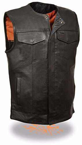 Milwaukee MEN'S MOTORCYCLE SON OF ANARCHY STYLE BUTTER SOFT LEATHER VEST W/O COLLAR NEW (3XL Regular)