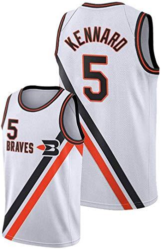 FEZBD LOS Angeles CLUPPERS # 5 Kennard Basketball Jersey, Camiseta De Malla Bordada Unisex, Tela Transpirable Jersey Chaleco,Blanco,XL180~185cm