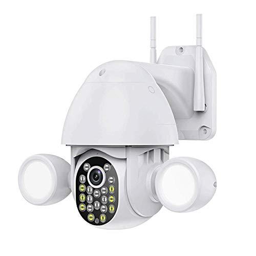 HLSH Cámara IP WiFi, HD Vigilancia PTZ 3MP IP66 Impermeable Seguimiento Automático IR Visión Nocturna Cámara De Seguridad CCTV, Iluminación De Reflector para Exteriores