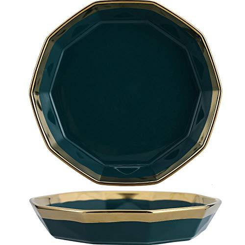 Nordic Home Set Vajilla de cerámica de tinta simple verde vajilla tazón japonés regalo de la vajilla de 7 pulgadas - oro de lujo