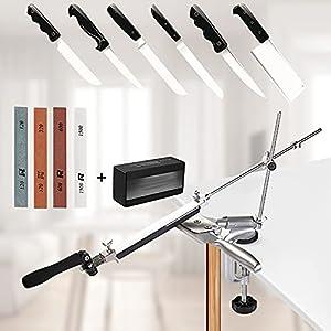 InLoveArts Afilador de Cuchillos Profesional con 4 muelas, afilador de Cuchillos de ángulo Fijo con rotación Pro RX-008, Juego de Herramientas de Afilado de Cocina manuales