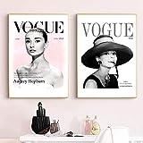 Diosa Británica Audrey Hepburn Impresiones En Lienzo Carteles De Moda Portadas De Revistas Pintura Artística Arte De Pared Escandinavo Imágenes De Decoración del Hogar 40X60Cmx2 Sin Marco