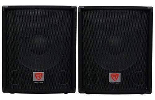 "(2) Rockville SBG1154 15"" 800W Passive 4-Ohm Pro DJ Subwoofers, MDF/Pole Mount"