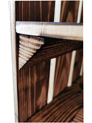 Teramico Holzkiste 50 x 40 x 30cm - Vintage-Look geflammt - Weinkiste Obstkiste Set Dekoration (3er Set, Ablage Kurz) - 3