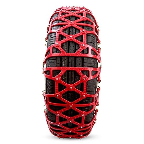 QQLONG Cadenas de nieve para coche de pasajeros, cadenas de nieve de goma antideslizante, tracción de emergencia (color: rojo, tamaño: 175/70 R14) (color: rojo, tamaño: 175/60 R16)
