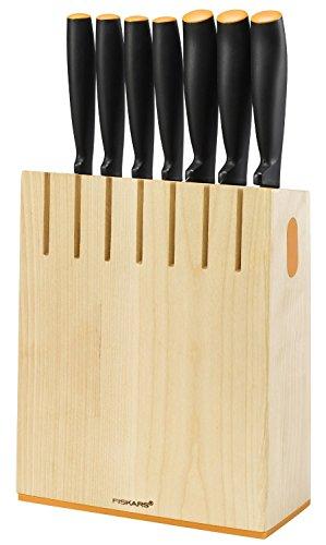 FISKARS Functional Form Ceppo di Legno con 7 Coltelli, Acciaio Inossidabile, 11.5 x 20.3 x 36 cm