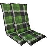 DILUMA Hochlehner Auflage Naxos für Gartenstühle 118x49 cm 2er Set Karo Grün - 6 cm Starke Stuhlauflage mit Komfortschaumkern und Bezug aus 100% Baumwolle - Made in EU mit ÖkoTex100