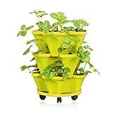 Macetero de fresas de 3niveles, macetero de jardín de hierbas, macetas de plástico apilables para jardinería con orificios de drenaje, macetero de flores vertical para bricolaje, macetas para verdu