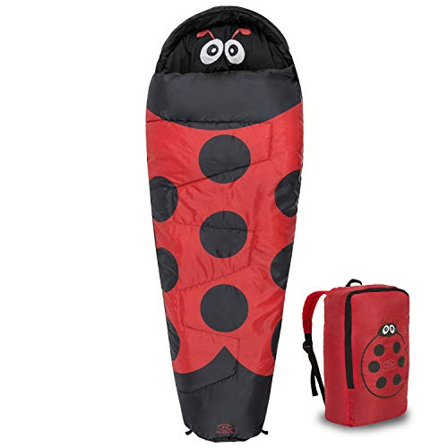 Highlander Kids Creature Sleeping Bag - Mummy Style Junior Bags for Summer Camping or Sleepovers (Red)