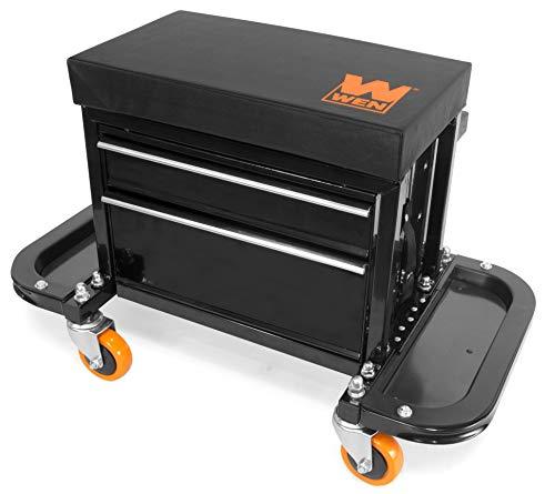 WEN GG7315 400-Pound Capacity Garage Glider Rolling Tool Chest Seat with Storage Pouch