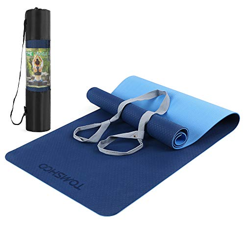 TOMSHOO Esterilla de Gimnasia Antideslizante Doble Color, Esterilla de Entrenamiento de Yoga...