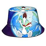Bucket Hat Snoopy Flees The Earth Bucket Sun Hat para Hombres Mujeres -Protección Gorra de Pescador de Verano Empacable para Pesca, Safari, Paseos en Bote en la Playa Negro