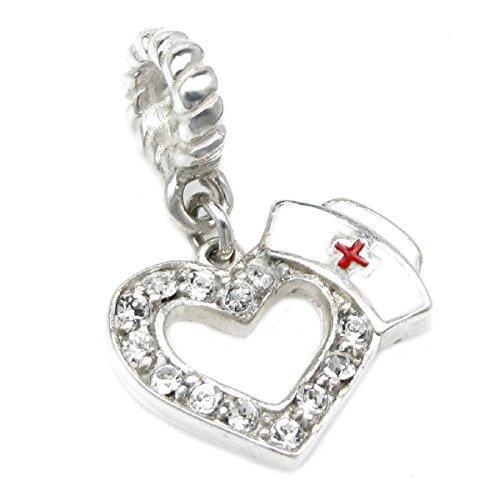 Queenberry, ciondolo a forma di cuore con cappellino da infermiera, in argento sterling e con zirconi cubici