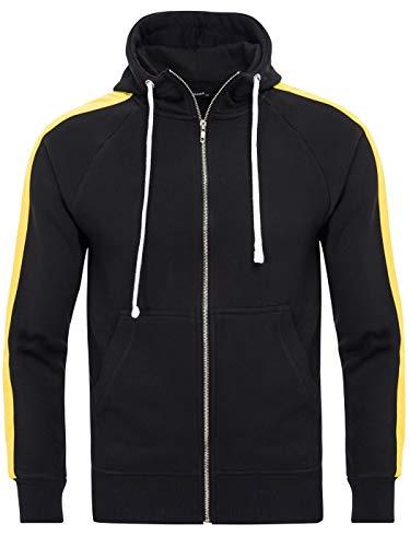 PITTMAN Maglione Uomo Cappotto più Sport Primavera Stripe Sweatshirt Grande Sweatjacket Zip Neri Scuro, Nero/Giallo (Black/Yellow 1605), XL