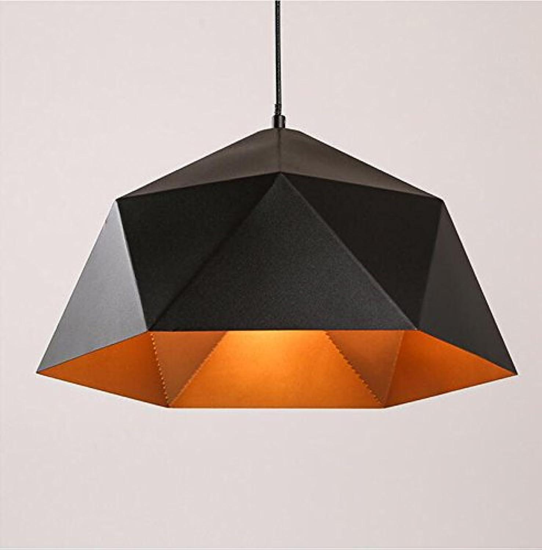 Lustre de restaurant nordique Personnalité créative Art de fer American Bar Counter Couleur Moderne Simple LOFT Single Head Geometric Lamp (Couleur   Noir-38 cm)