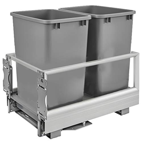 Rev-A-Shelf 5149-18DM-217 22 x 14 x 19.5 Inch Double 35 Quart Pull Out Kitchen Cabinet Waste Container Storage with Trash Can, Wire Basket, and Rev-A-Motion, Silver