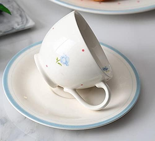 HRHQ Tetera de cerámica Tazas de tetera y platillos Pequeña Juego de Verano Grande Fresco Fondo Resistente al calor Tetera Hogar-Conjunto de placas de taza