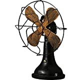 Pearlead Decorative Desk Vintage Fan Iron Retro Tabletop Model for Music Bar Shop Home Bedroom Old Fashion Classic Gifts (Black)