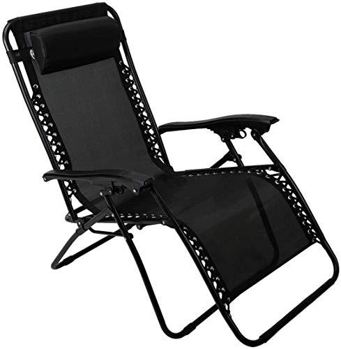 ZRXRY Zero Gravity Chair Folding Patio Lehnstuhl Einstellbare Anti Gravity Lounge Chair mit Kopfstütze, Unterstützung 300lbs, für Outdoor, Camping, Garten, Rasen