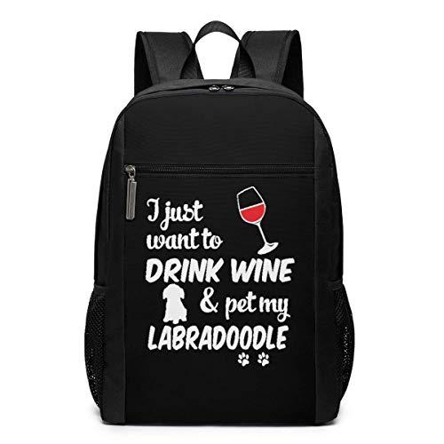 AOOEDM Solo Quiero Beber Vino y acariciar Mi Mochila Labradoodle Bolsas para computadora portátil de 17 Pulgadas Bolsa para computadora Escolar