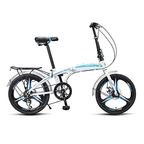 Bicicleta, Bicicleta de CercaníAs PortáTil de 20 Pulgadas, Bicicleta Recreativa Urbana, Marco Plegable de Poca Envergadura, Ajustable de 7 Velocidades, Tanto Hombres Como Mujeres Pueden Usar