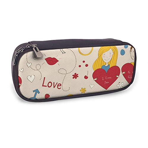 Pencil Case Pen Bag,Romantic Seamless,Large Capacity Pen Case Pencil Bag Stationery Pouch Pencil Holder Pouch with Big Compartments