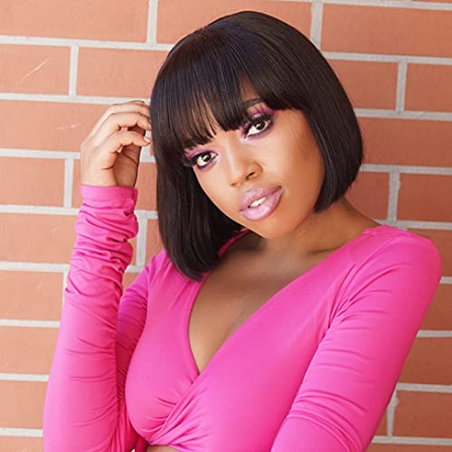 Short Bob Wig Human Hair Wigs With Bangs 8 inch None Lace Front Wig 130% Density Glueless Machine Made Straight Wigs for Women (8Inch, Natural Black)