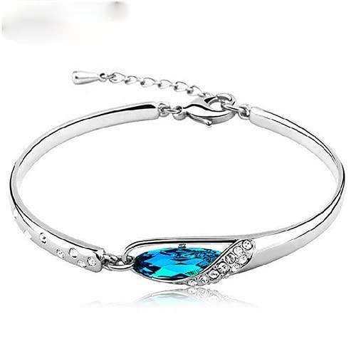 Elnker 925 Brazalete de Plata esterlina Pulsera Modelos Femeninos Súper Flash Cristal Azul Salvaje