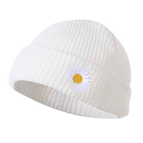 1 x modische bunte Fischermütze für Damen und Herren, Strickmütze, lässig, Hip-Hop-Hut, aufrollbarer Rand (weiß)