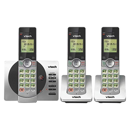 VTech CS6929-3 DECT 6.0 Expandable Cordless Phone with Answering Machine, 3 Handsets - Black/Silver (Renewed)