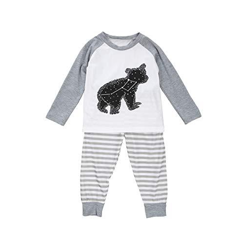 Juego de Pijamas a Juego de 2 Piezas con diseño de Oso Impreso de Manga Larga + Pantalones de Rayas a Juego con Ropa de Dormir para papá, mamá, bebé, niños y otoño, Invierno