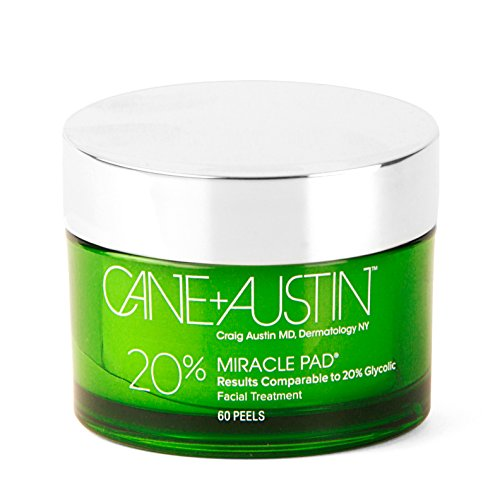 CANE + AUSTIN Miracle Pad, 20% Glycolic Acid Exfoliating Face Peel, Daily Resurfacing Treatment, 60 pads