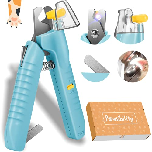 Pawsibility - 2021 Reinvented Pet Nail Clippers for Your Pal - Ultra Bright LED Light for Bloodline   Razor Sharp and Durable Blade   Vets Recommended Trimming Tool for Dogs and Cats - Aqua