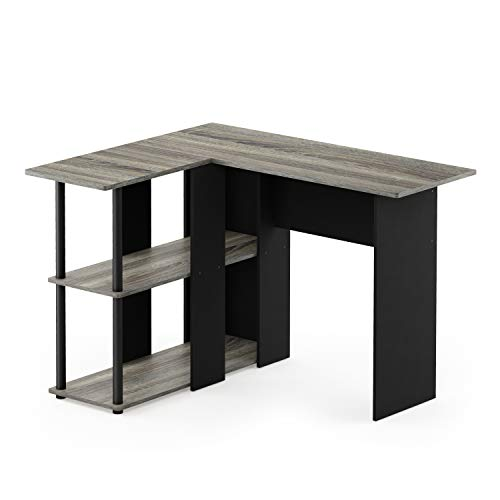 Furinno Abbott L-Shape Desk with Bookshelf, French Oak Grey/Black